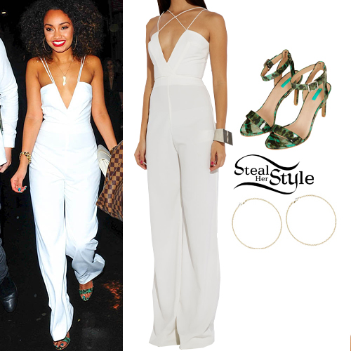 Leigh Anne Pinnock: White Jumpsuit, Green Sandals | Steal Her Style