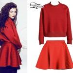 Lorde: Red Ribbed Sweatshirt & Skirt