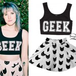 Mariel Loveland: Geek Crop Top, Cat Print Skirt