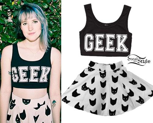 Mariel Loveland: Geek Crop Top, Cat Print Skirt