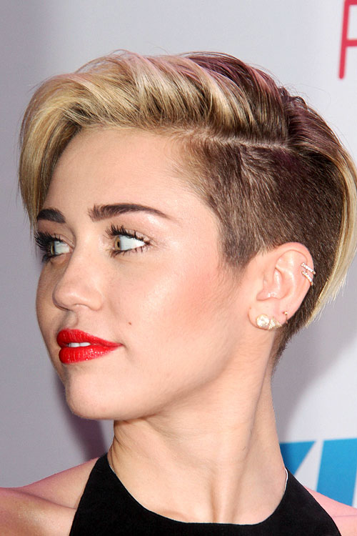 Miley Cyrus Straight Light Brown Side Part Undercut Hairstyle