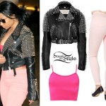 Nicki Minaj: Studded Jacket, Light Pink Jeans