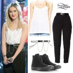 Perrie Edwards: White Cami, Black Pants
