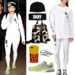 Rita Ora: DKNY Long Sleeve Top & Leggings