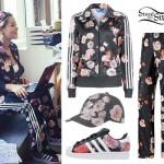 Rita Ora: Floral Adidas Track Suit