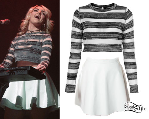 Rydel Lynch: Silver & Sheer Striped Top