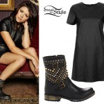 Tay Jardine: Leather Dress, Studded Boots