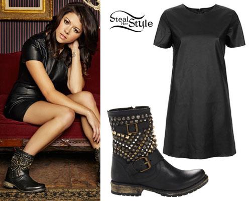 Tay Jardine: Leather Dress, Studded Boots