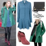 Taylor Swift: Green Coat, Printed Dress