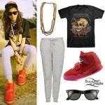 Zendaya: Yeezus T-Shirt, Red October Sneakers