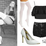 Ariana Grande: Ruffle Crop Top, Metal Tip Pumps