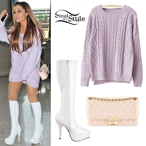 7f50e04fc02 Ariana Grande  Purple Knitted Sweater Outfit