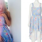 Bella Thorne: Blue Floral Dress