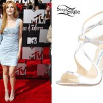 Bella Thorne: Silver Strappy Sandals