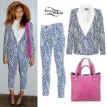 Beyoncé: Navy and White Print Suit