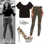 Beyoncé: Leopard Pants & Leopards Pumps