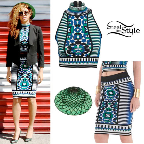 Beyoncé: Print Top, Bodycon Skirt