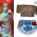 Bonnie McKee: Leopard Crop Top, Denim Cutoffs