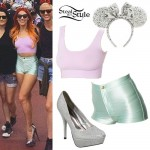 Bonnie McKee: Mint Green Disco Shorts Outfit