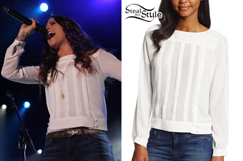 Cassadee Pope: White Pintucked Blouse