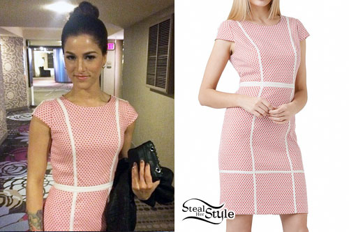Cassadee Pope: Red & White Print Dress