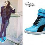 Elle Winter: Blue Puma Wedge Sneakers