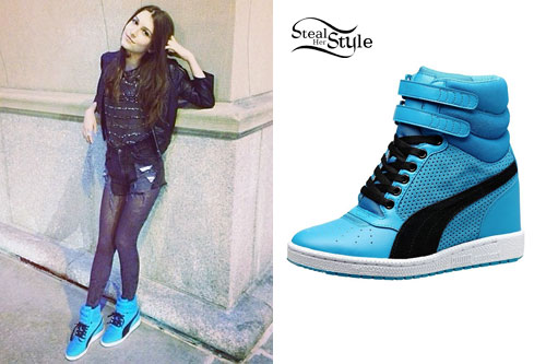 Elle Winter: Blue Puma Wedge Sneakers