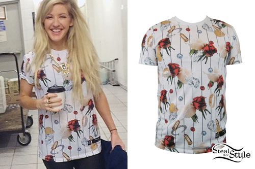 Ellie Goulding: Striped Rose Print T-Shirt