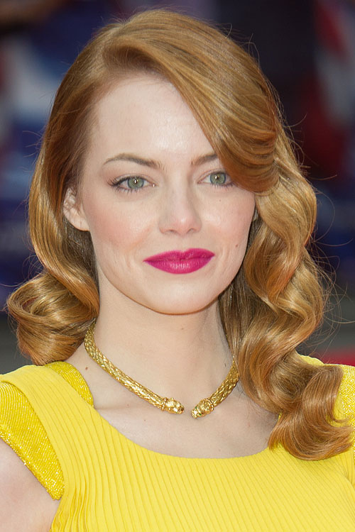 Emma Stone Wavy Ginger Sideswept Bangs Hairstyle Steal