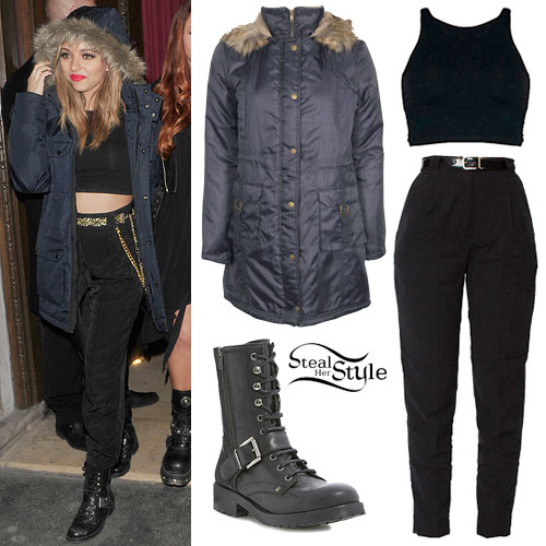 Jade Thirlwall: Parka Jacket, Black Pants
