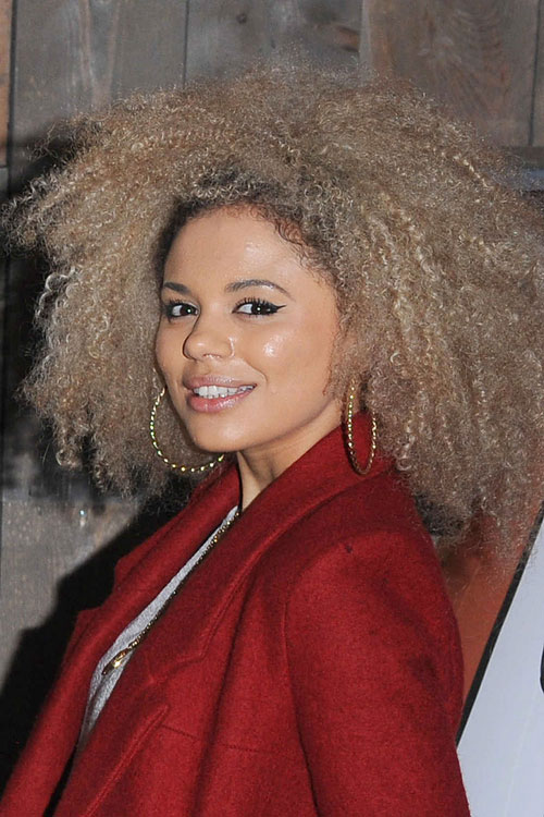 Jessica Plummer Curly Teased Ash Blonde Afro Dark Roots