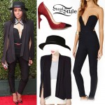 Kat Graham: Black Jumpsuit, Cape Blazer