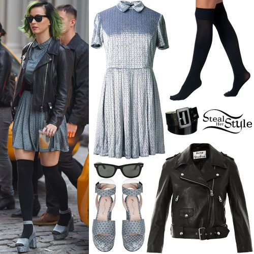 Katy Perry: Jacquard Collar Dress Outfit