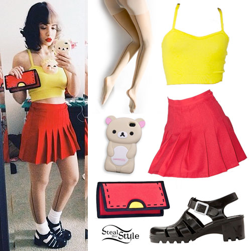 Melanie Martinez: Red Pleated Skirt, Jelly Shoes