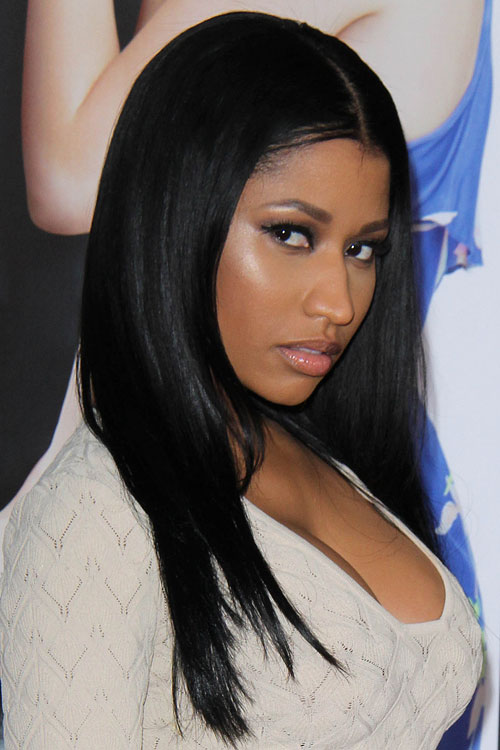 Nicki Minaj Straight Black Flat-Ironed Hairstyle Steal Her Style