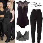 Perrie Edwards: Lace Bodysuit, Black Pants