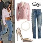 Rihanna: Pearl Jeans, Gold D'orsay Pumps