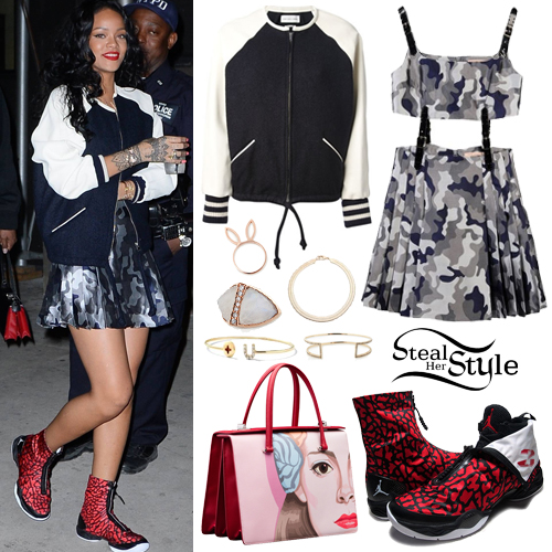Rihanna: Camo Dress, Baseball Jacket | Steal Her Style