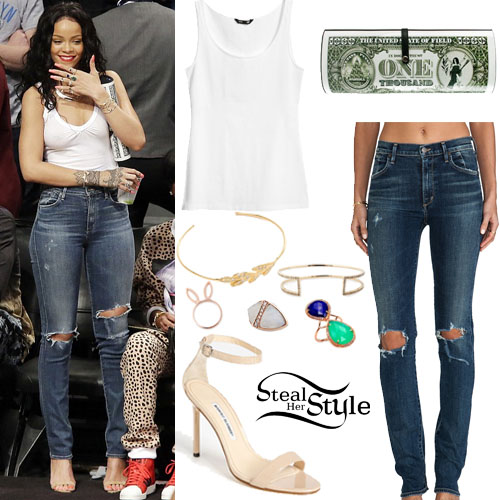 Rihanna Ripped Jeans August 2017