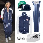 Rita Ora: Baseball Jacket, Striped Maxi Dress