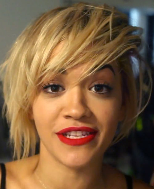 Rita Ora Straight Golden Blonde Bob Messy Hairstyle