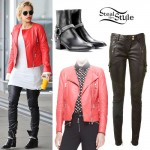Rita Ora: Red Leather Jacket Outfit