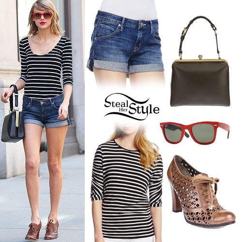 Taylor Swift: Stripe Top, Denim Shorts