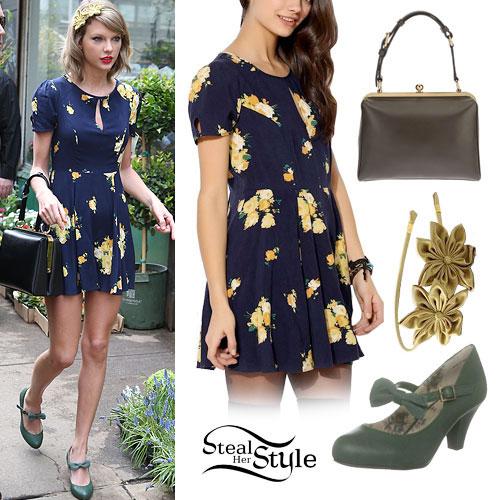 Taylor Swift: Floral Dress, Green Pumps