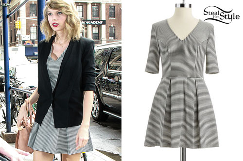 Taylor Swift: Striped V-Neck Dress