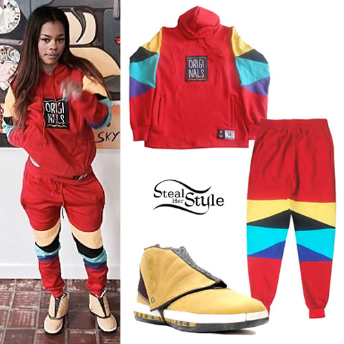 Teyana Taylor: Red Colorblock Sweatsuit
