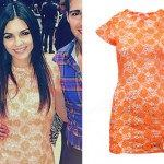 Victoria Justice: Neon Orange Lace Dress