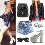Ariana Grande: Leather Jacket, Denim Shorts