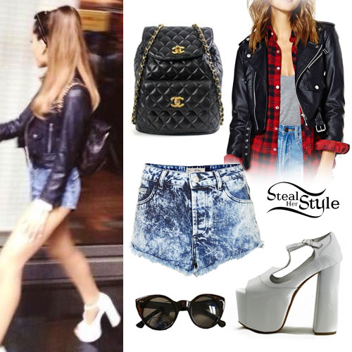 Ariana Grande: Leather Jacket, Denim Shorts