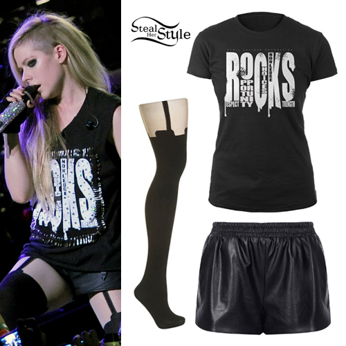 Avril Lavigne: ROCKS Tee, Garter Tights